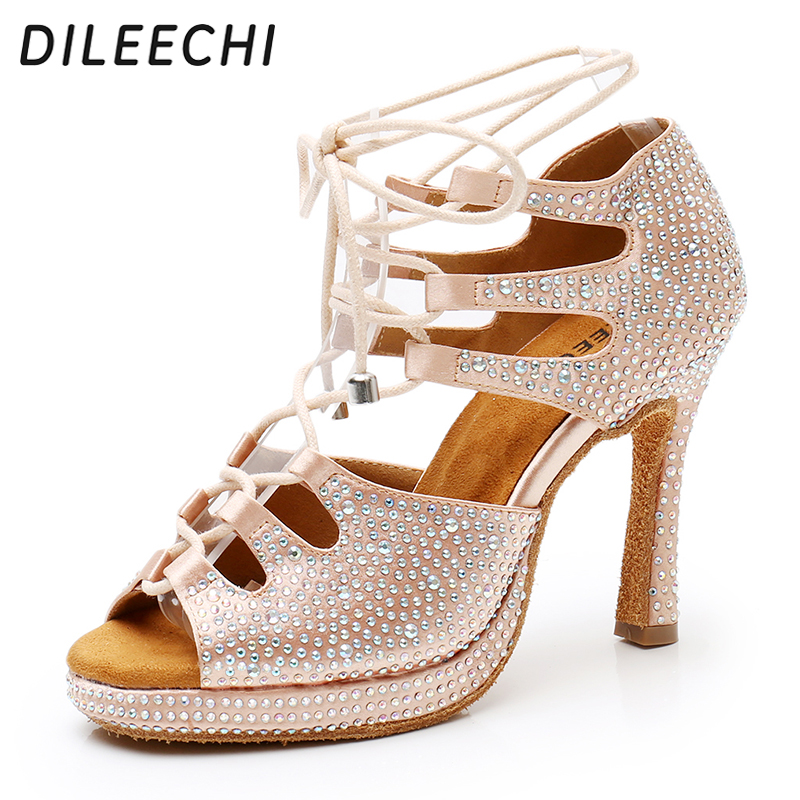 DILEECHI Latin dance shoes Beige black satin Ballroom dancing shoes Platform New adjust width party Squre shoes women high heel