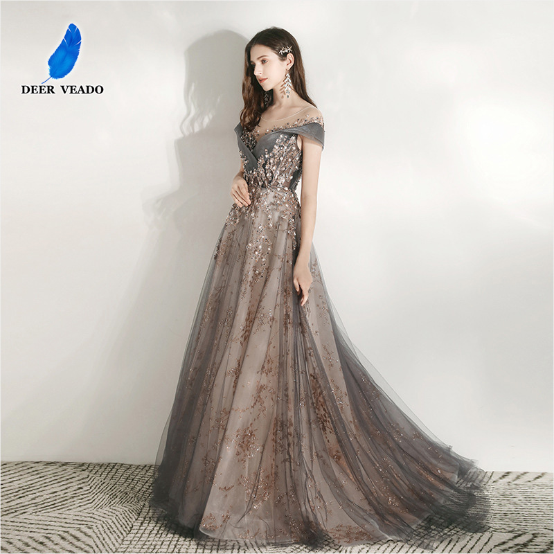 DEERVEADO MFY102 Luxury Appliques Prom Dresses Long 2020 Cap Sleeve Formal Party Dress Prom Gown With Train Robe De Soiree