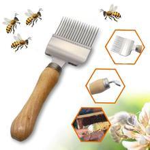 Вилка для меда, пчелиного скребка, улей, разъемная вилка для меда из нержавеющей стали, пчелиный срезанный мед, деревянная ручка, инструмент для скребок пчеловодства@ 5