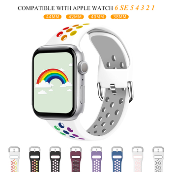 port silicone bracelet for apple watch band strap 42mm 38mm iwatch series 3 2 1 wrist belt camouflage watchband metal buckle Strap for Apple watch 6 band 40mm 44mm/42mm/38mm Accessories Silicone belt Sport bracelet iWatch series 6 Se 5 4 3 2 1 Watchband