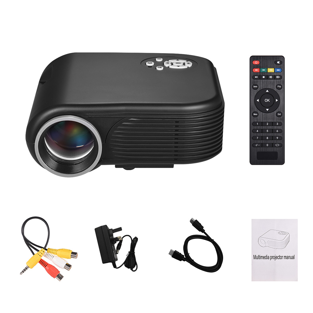 Portable LED Mini Movie Projector 1080P Supported 30 100 Inch Projection Size with AV/VGA/USB/TF/HD Input Ports Multimedia Video