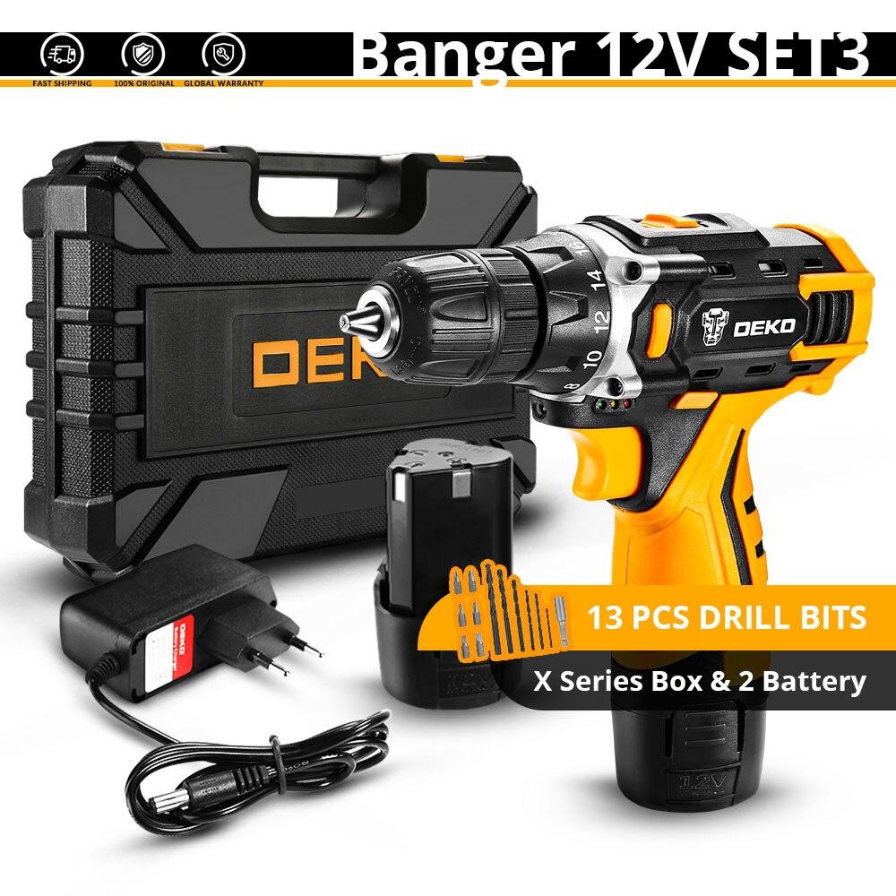 DEKO Новое поступление Banger 12 в 16 В 20 в Аккумуляторная дрель электрическая отвертка мини беспроводной драйвер питания DC литий-ионный аккумулятор 3/8 в - Цвет: Banger 12V SET3