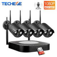 Techege 4CH System CCTV 1080P HD Audio bezprzewodowy zestaw monitoringu NVR na zewnątrz Night Vision bezpieczeństwo kamera IP WIFI System CCTV Plug & Play