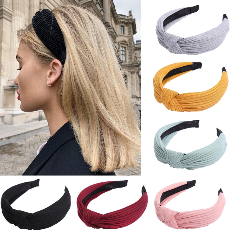 Solid Soft Knotted Headband Hairband For Women Lady Turban Wide Simple Hair Hoop Hair Accessories Headwear
