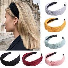 Sólido Macio Atada Turban Headband Hairband Para As Mulheres Senhora Grande Simples Hoop Cabelo Acessórios de Cabelo Headwear