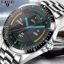 LIGE 2020 New Bluetooth call Mens Smart Watch IP68 Waterproof Fitness Tracker Watches with Heart Rate Blood Pressure Monitor+Box
