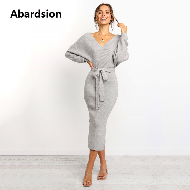 Abardsion Women Knitted Sweater Dress Wrap Belted Tunic Midi Vestidos Long Sleeve Double V Neck Split Casual Autumn Dresses 19 4