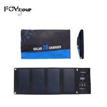 Fovigor-cargador Solar plegable para exteriores, 3 puertos USB, 28W, 5V, resistente al agua, carga rápida, Panel Solar