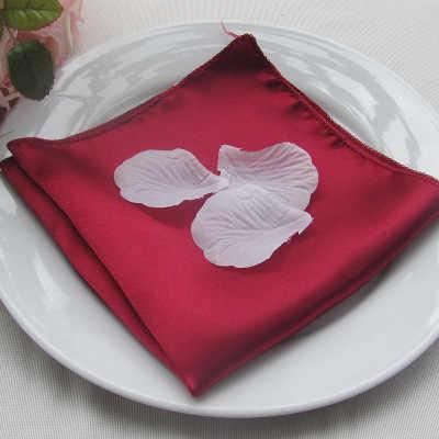 NP004 ราคาถูกที่กำหนดเองหลายสีงานแต่งงาน 40 ซม.* 40 ซม.สีแดง Burgundy Navy สีขาวและสีดำลายลายแชมเปญสีชมพูผ้าซาตินผ้าเช็ดปาก