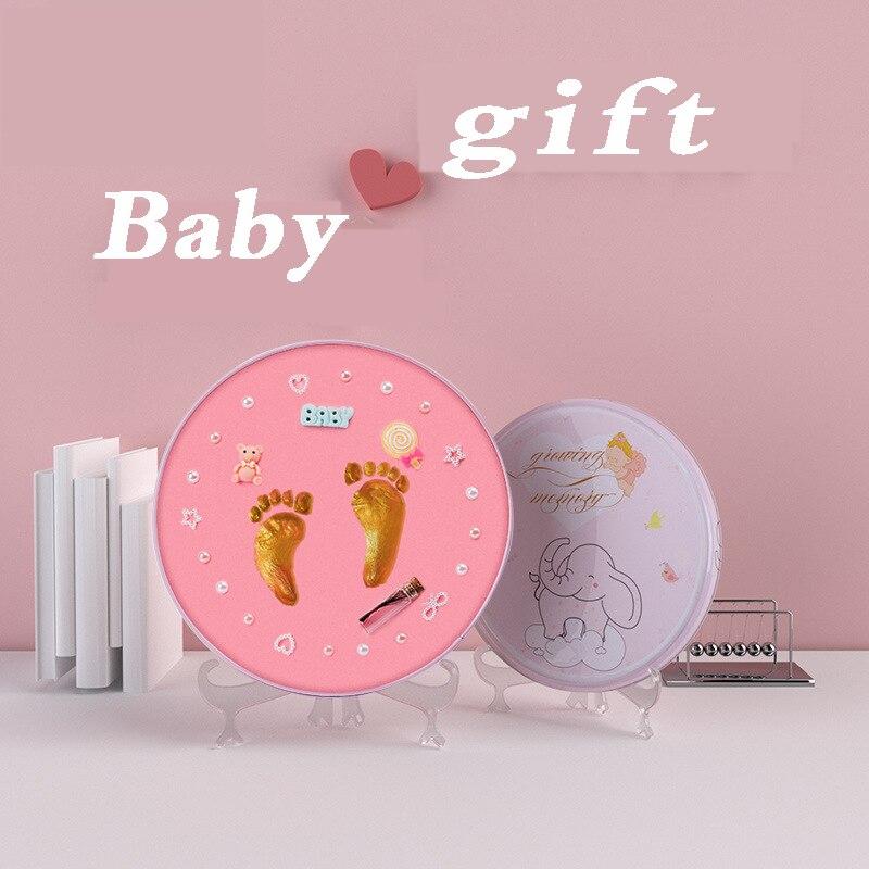 Baby footprint DIY Baby Air Drying Soft Clay Babies hand foot Imprint Kit Casting paw print pad ultra light stereoscopi Casting