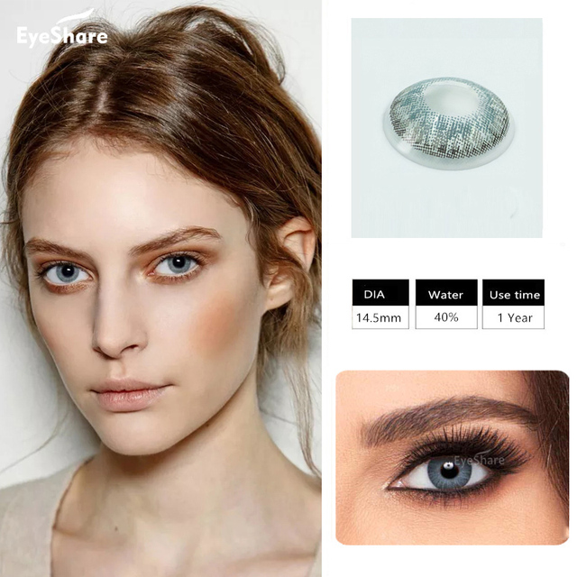 EYESHARE- 1 Pair 3 Tone Brilliant Colored Contact Lenses for Eyes Cosmetic Coloured  Eye Lenses Contacts 3