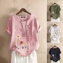 Fashion Printed Tops Women's Summer Blouse 2020 ZANZEA Casual Short Sleeve Shirts