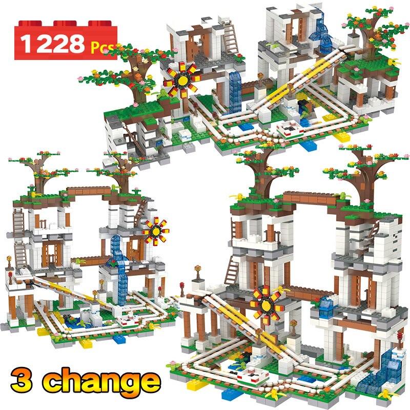 1228 pièces Mon Monde Briques Compatibles Legoingly La Mine Grotte Mienne Glissière Chiffres Blocs De Construction Jouets Pour Enfants