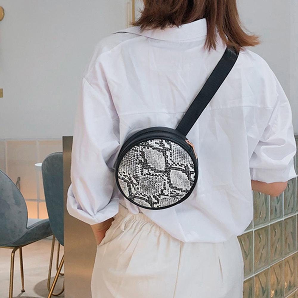 Fashion Snake Print Phone Money Shoulder Messenger Handbags Women Waist Fanny Belt Packs PU Leather Round Crossbody Chest Bags