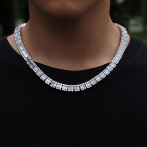 Image 2 - Ожерелье UWIN с кубическим цирконием, белый квадратный кластер багета, цепочка в стиле хип хоп, модные мужские и женские украшения со льдом