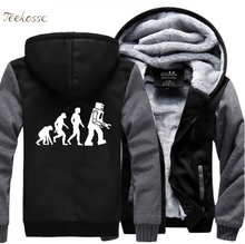 The Big Bang Theory Hoodie Robot Evolution Funny Hoodies Men 2018 Winter Warm Zipper Hooded Fleece Sweatshirt Jacket Sportwear