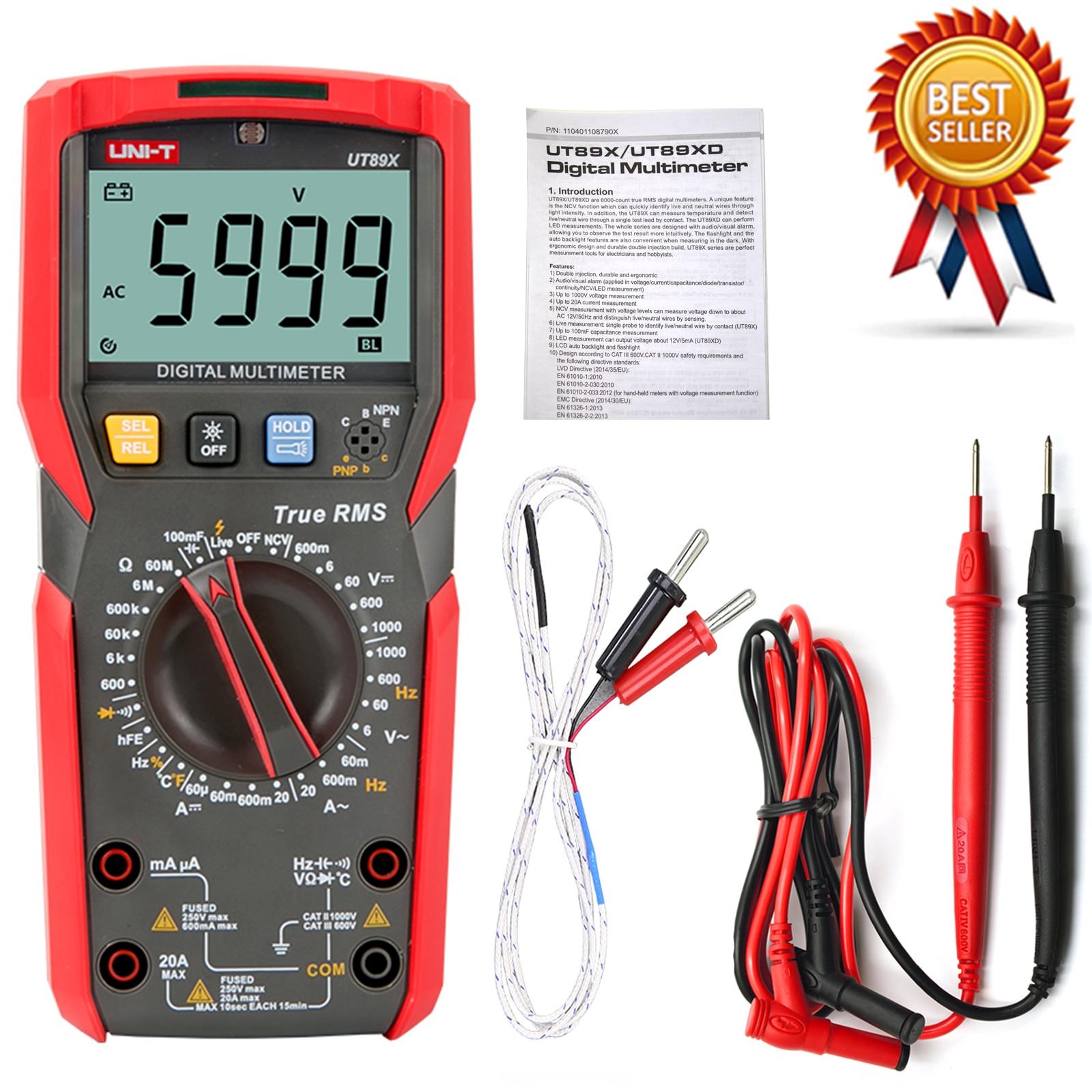 UNI-T ut89x/ut89xd verdadeiro rms multímetro digital verdadeiro rms testador ac/dc voltímetro amperímetro 1000v 20a frequência led medida.