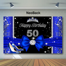 Neoback 50th Birthday Backdrop Blue High Heels Crown Photography Backdrops Elegant Ladys Party Photo Background
