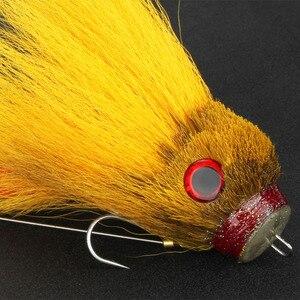 Image 4 - Novo pique pesca com mosca 35g/17cm material do cabelo dos cervos grande mouse seco mosca ganchos com resina isca truta mosca pesca moscas 6 cores