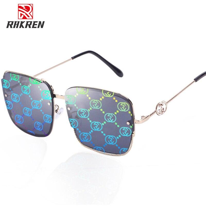 Oversized Square Sunglasses Women Luxury Brand Vintage Sunglasses For Women Female Metal Frame Gradient Lady Shield UV400