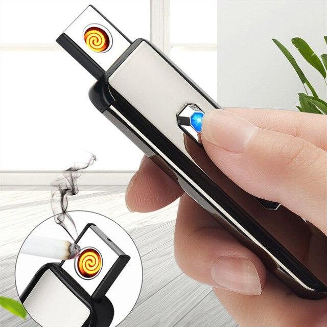 Pulsador USB encendedor de carga de doble cara encendedor de cigarrillos antiviento electrónico