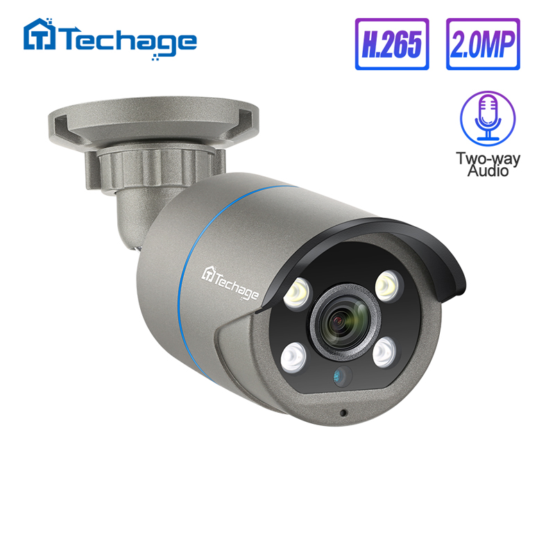 H.265 1080P 2MP 48V POE IP Camera Two Way Audio IR Outdoor Waterproof P2P ONVIF CCTV Security Video Surveillance DC12V AI Camera