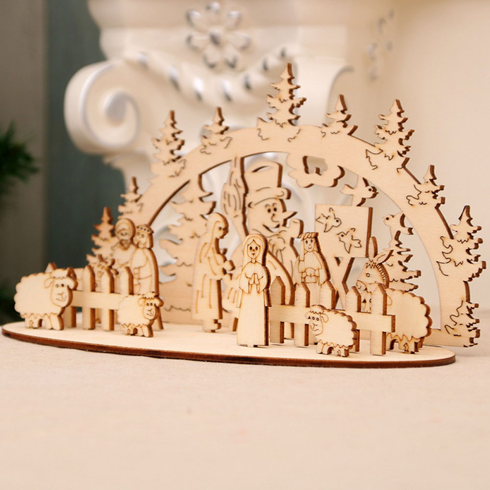 DIY Christmas Wooden Toy Xmas Funny Party Desktop Decoration Christmas Wooden Ornaments Three-dimensional Kids Toy Decoration 15