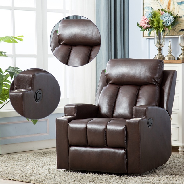 Leather Recliner Chair with 2 Cup Holders for Contemporary Theater Seating 1