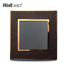 Wallpad L1 Marco de Metal dorado 1 Gang 1 Way 2 Way luz de pared interruptor basculante Panel de cuero(China)