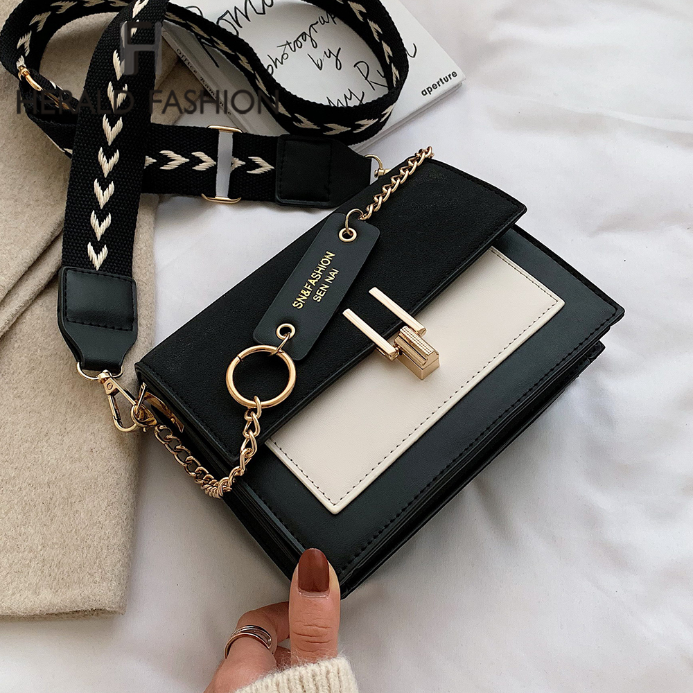2020 New Mini Handbags Women Fashion Ins Ultra Fire Retro Wide Shoulder Strap Messenger Bag Purse Simple Style Crossbody Bags
