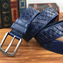 Braided Belt Leather Belt Men Luxury Blue Men Belt Wide Ceinture Homme Waist Belt Blue Long Belts For Men MBT0276B
