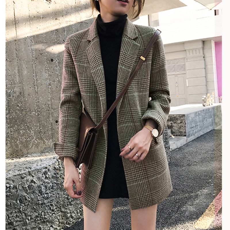 Women's Suit Casual Temperament Slim Cardigan Jacket Women Autumn Buttonless Plaid Ladies Long Sleeve Mid-length Jacket Suit