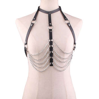 New Women Leather Chain Lingerie Open Bust Body Harness Breast String Bra Women's Sexy Clubwear BDSM Bondage Restraints Strap image