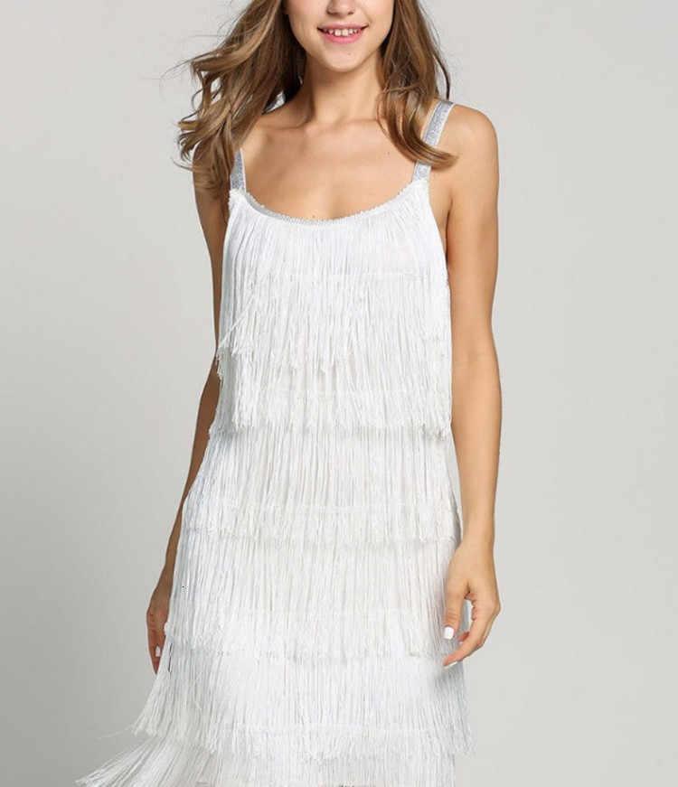2019 nouveau gland robe femmes Sexy été clapet robe de plage sangle basse coupe noir argent blanc court frange robes de fête chaude