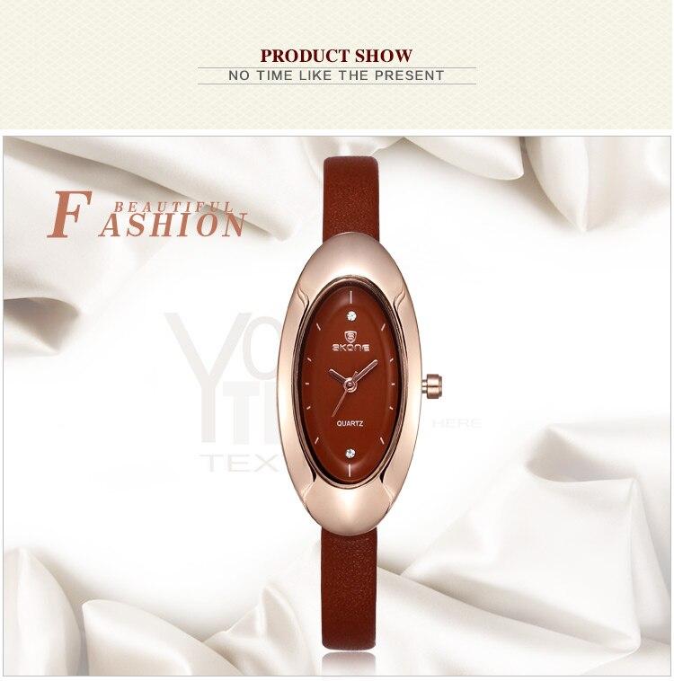 relógio elíptico dial pulseira de couro relógio