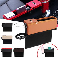 Driver Side Car Seat Crevice Gap Storage Box for Pocket Organizer Phone Holder PU Leather Universal 5 Color
