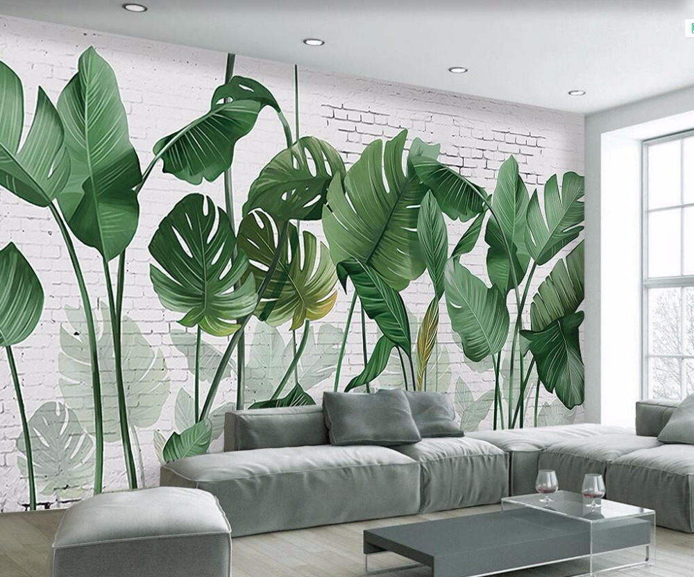 Custom Wallpaper, Nordic Hand-painted Brick Wall Plant Banana Leaf Long Style Living Room TV Background 3d Wallpaper