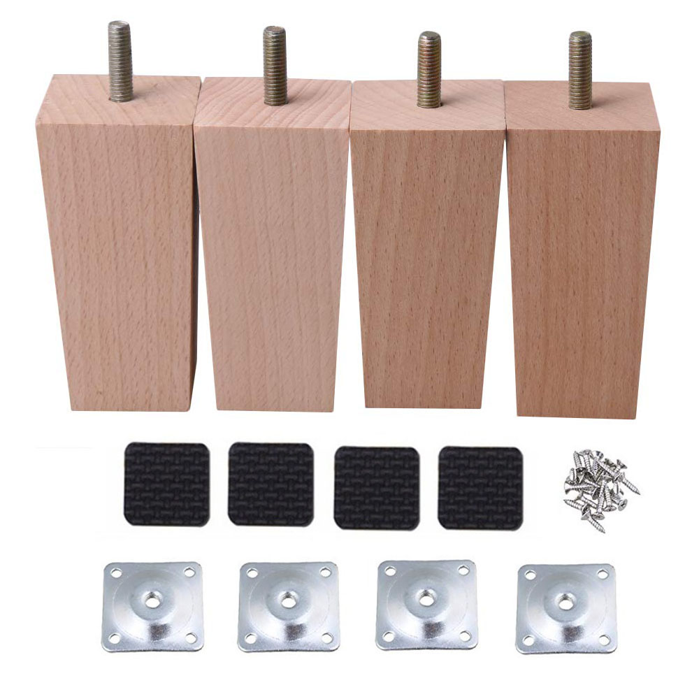 4pcs M8 Beech Wooden Furniture Legs Thread Replacement For Cabinet Chair Couch Table Feet 10cm,14cm Or 15cm Height With Screw