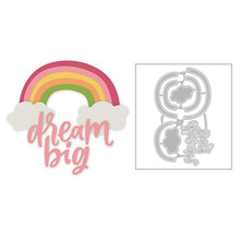 2020 Hot New DIY Rainbow Cloud Lowercase Word Letter Dream Big Metal Cutting Dies Foil and Scrapbooking For Card Making no stamp(China)