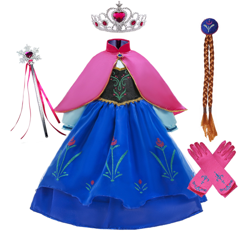 Girls Anna elsa Princess Dress Anna Costume with Cloak Children Cosplay Clothing Snow Queen 2 birthday Party Cosplay Fancy Dress(China)