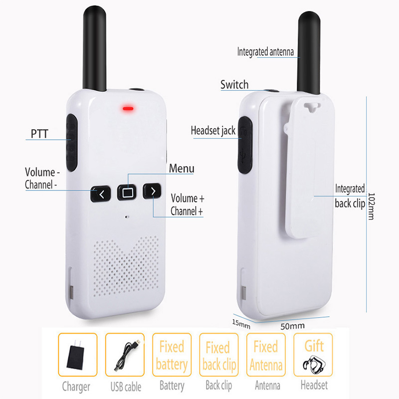 2pcs Ultra Thin Walkie-Talkie With Gain Antenna Outdoor Long Standby Two Way Radio Communication Intercom Portable Walkie Talkie