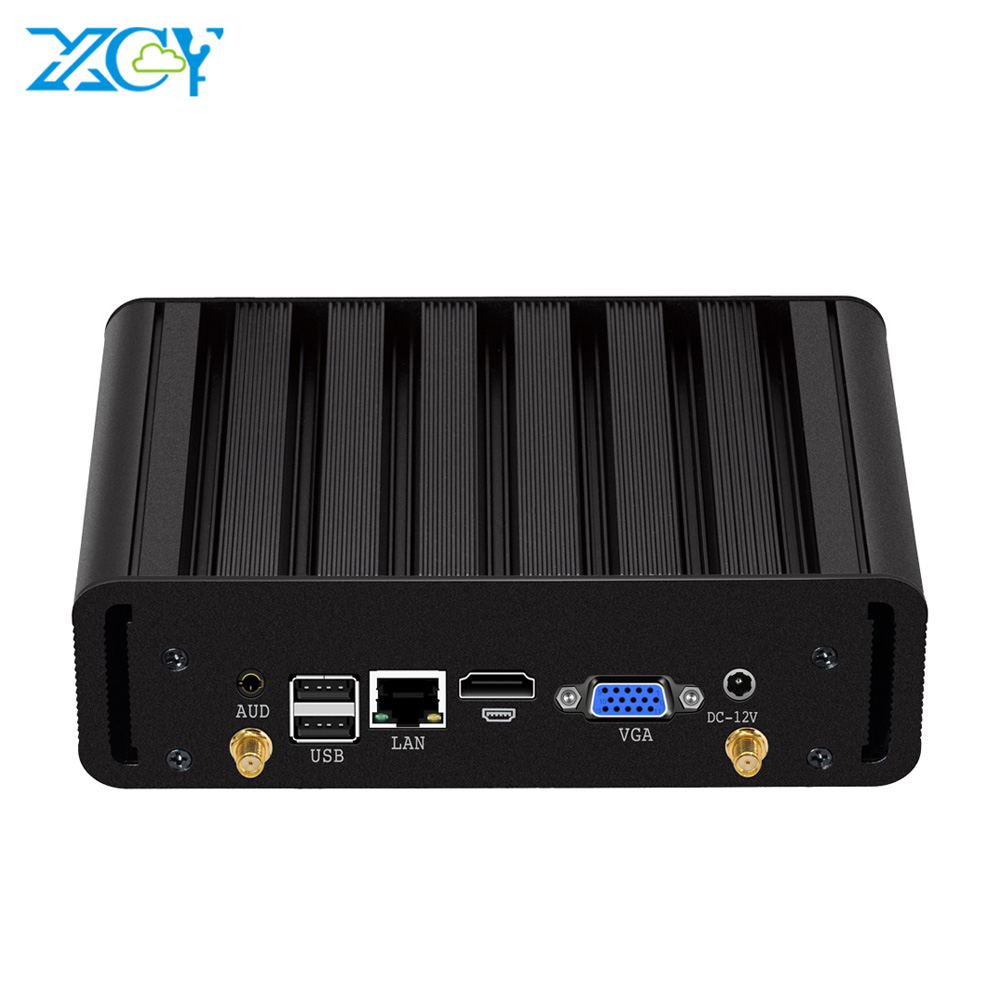 XCY Mini PC Fanless Core I3 4010Y 4005U I5 4210Y I7 4500U Windows 10 HTPC HDMI 300M Wifi 8*USB Office Minipc I7 Computers