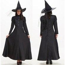 Женское Макси-Платье на Хэллоуин, новинка года, зимнее модное однотонное платье ведьмы для костюмированной вечеринки, платье с длинными рукавами+ шляпа, комплект одежды, костюм FC