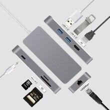 Thunderbolt 3 Dock HUB USB Loại C thành HDMI Ethernet RJ45 Adapter USB Đa Năng 3.0 USB C Sạc TF thẻ SD cho MacBook Pro HUB USB C