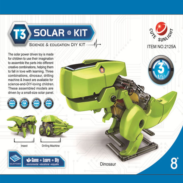 Solar toy robot diy assembled model dinosaur technology making 3 in 1 polymorph 2