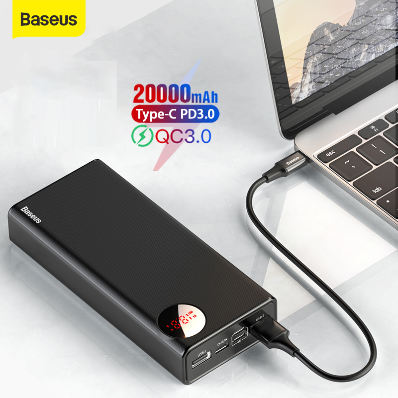 Baseus Power Bank 20000mAh PD Fast Charging USB Type C Quick Charge 3.0 PowerBank Car External Battery For Xiaomi For Samsung