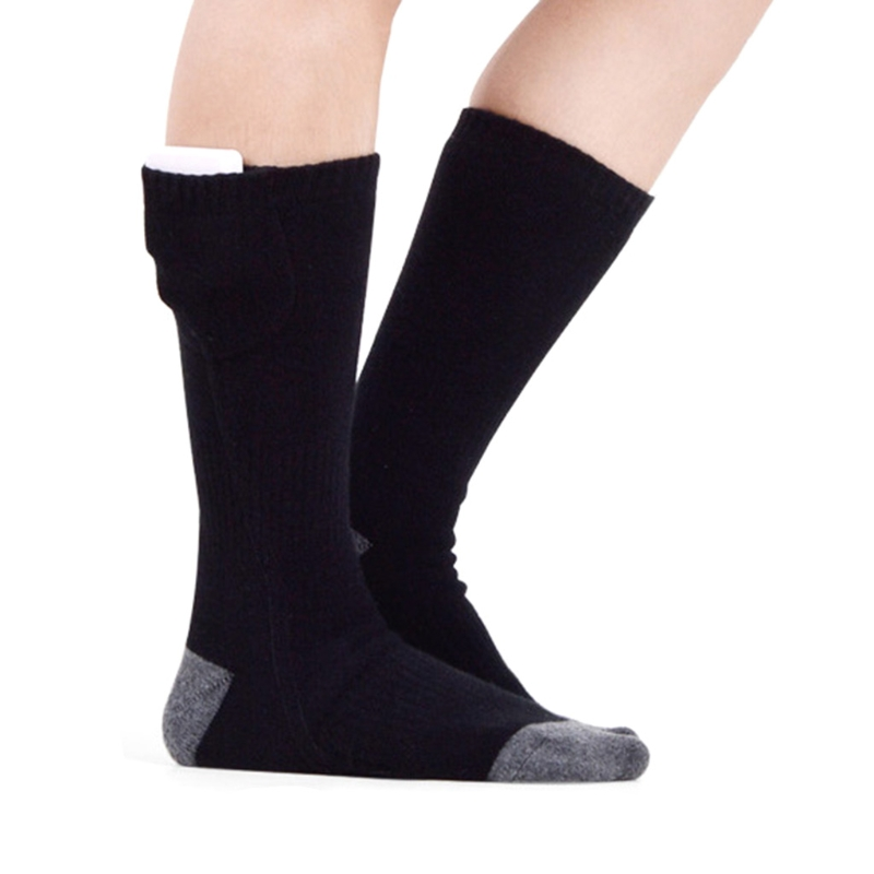 Men Women Winter Warm Electric Heating Socks 3 Gears Adjustable Temperature 3.7V Rechargeable Heated Cotton Stockings