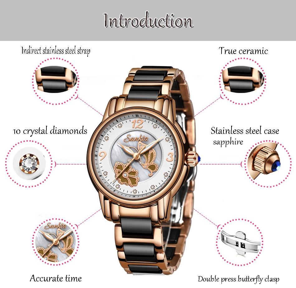Sunkta2019 nova listagem rosa ouro mulher relógios