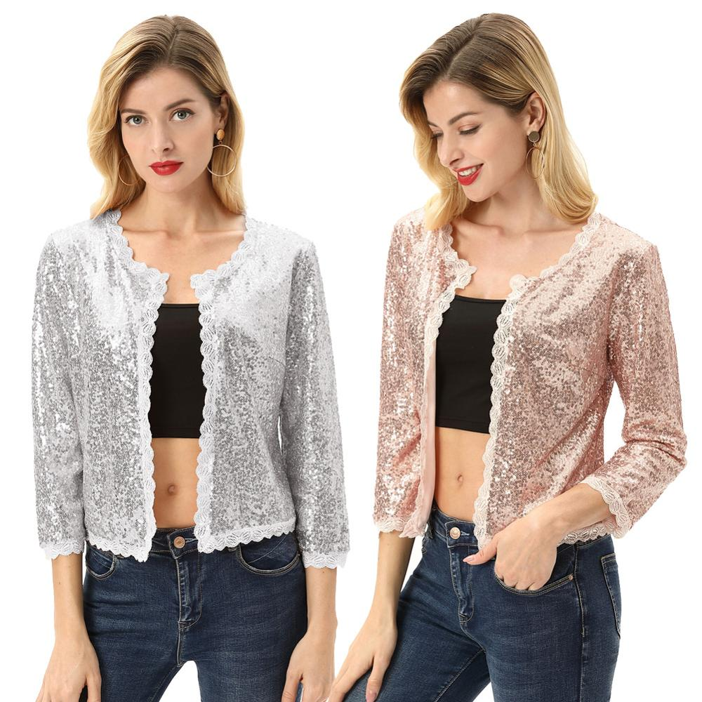 Kate Kasin Women's Sequin Coat 3/4 Sleeve Open Front Sparkling Jacket Outwear Cropped Length Sequined Cardigan Coats KCE02108