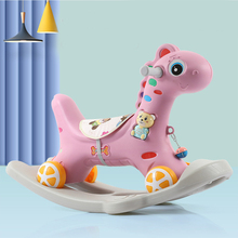 Infant Baby Ride On Toys 5In1Animal Rocking Horse Turntable Cart Flash Thickening Chassis Kids Indoor Toys